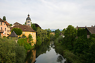 The Guiers River flows through Le Pont-de-Beauvoisin, a commune in the Auvergne-Rhône-Alpes Region of southeastern France. The river forms the border between the departments Isère and Savoie.