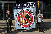 Housing campaigners protest outside the empty Millbank Tower as part of a national Empty Homes Day of Action on 9th October 2021 in London, United Kingdom. The protest was organised by groups including Action on Empty Homes, Radical Housing Network and Axe the Housing Act following the approval by Westminster Council and the Mayor of London of plans to redevelop Millbank Tower with no affordable homes as 207 luxury flats, a 150-bedroom 5-star hotel and a cultural centre.