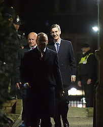 © Licensed to London News Pictures. 16/02/2018. Bristol, UK. JACOB REES-MOGG MP leaves the University of Bristol following his talk to the Bristol University Conservative Association on the evening of Friday 16/02/2018. Tonight's event began with protestors against Rees-Mogg outside the venue. Two weeks ago Rees Mogg spoke at University of the West of England when protestors broke into the hall and there was a confrontation. Photo credit: Simon Chapman/LNP
