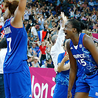 09 August 2012:  France Sanrine Gruda and Jennifer Digbeu celebrate after the 81-64 Team France victory over Team Russia, during the women's basketball semi-finals, at the 02 Arena, in London, Great Britain.