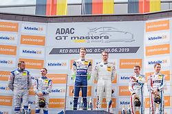 08.06.2019, Red Bull Ring, Spielberg, AUT, ADAC GT Masters Spielberg, Rennen, im Bild 2. Platz Sven Barth (GER)/David Jahn (GER) Corvette C7 GT3-R, 1. Platz Nicolai Sylvest (DNK)/Jens Klingmann (GER) BMW M6 GT3, 3. Platz Timo Bernhard (GER)/Klaus Bachler (AUT) Porsche 911 GT3 R // 2nd placed German ADAC GT Masters driver Sven Barth/German ADAC GT Masters driver David Jahn Corvette C7 GT3-R Winner Danish ADAC GT Masters driver Nicolai Sylvest/German ADAC GT Masters driver Jens Klingmann BMW M6 GT3 3nd placed German ADAC GT Masters driver Timo Bernhard/Austrian ADAC GT Masters driver Klaus Bachler Porsche 911 GT3 R during the race for the ADAC GT Masters at the Red Bull Ring in Spielberg, Austria on 2019/06/08. EXPA Pictures © 2019, PhotoCredit: EXPA/ Dominik Angerer