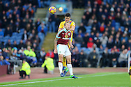 Scott Arfield of Burnley and Mathieu Flamini of Crystal Palace jump for the ball. Premier League match, Burnley v Crystal Palace at Turf Moor in Burnley , Lancs on Saturday 5th November 2016.<br /> pic by Chris Stading, Andrew Orchard sports photography.