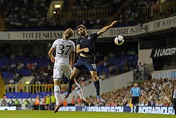 29.08.2013, White Hart Lane, London, ENG, UEFA CL Qualifikation, Tottenham Hotspur vs FC Dinamo Tiflis, Rueckspiel, im Bild Tottenham's Harry Kane and Dinamo Tbilisi's David Khurtsilava compete for the ball during the UEFA Europa League Qualifier second leg match between Tottenham Hotspur and FC Dinamo Tiflis Zuerich at the White Hart Lane in London, England on 2013/08/29 . EXPA Pictures © 2013, PhotoCredit: EXPA/ Mitchell Gunn <br /> <br /> ***** ATTENTION - OUT OF GBR *****