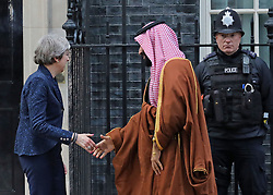 © Licensed to London News Pictures. 07/03/2018. London, UK. British Prime Minister Theresa May meets Saudi Crown Prince Mohammed bin Salman at No.10 Downing during a state visit. Photo credit: J. Almasi/LNP