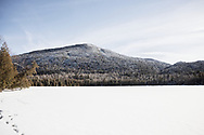 Winter landscape view from Owen pond in the Adirondack Park of New York