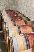 Oak barrel aging and fermentation cellar. Domaine Gravallon Lathuiliere, Morgon, Beaujolais, France