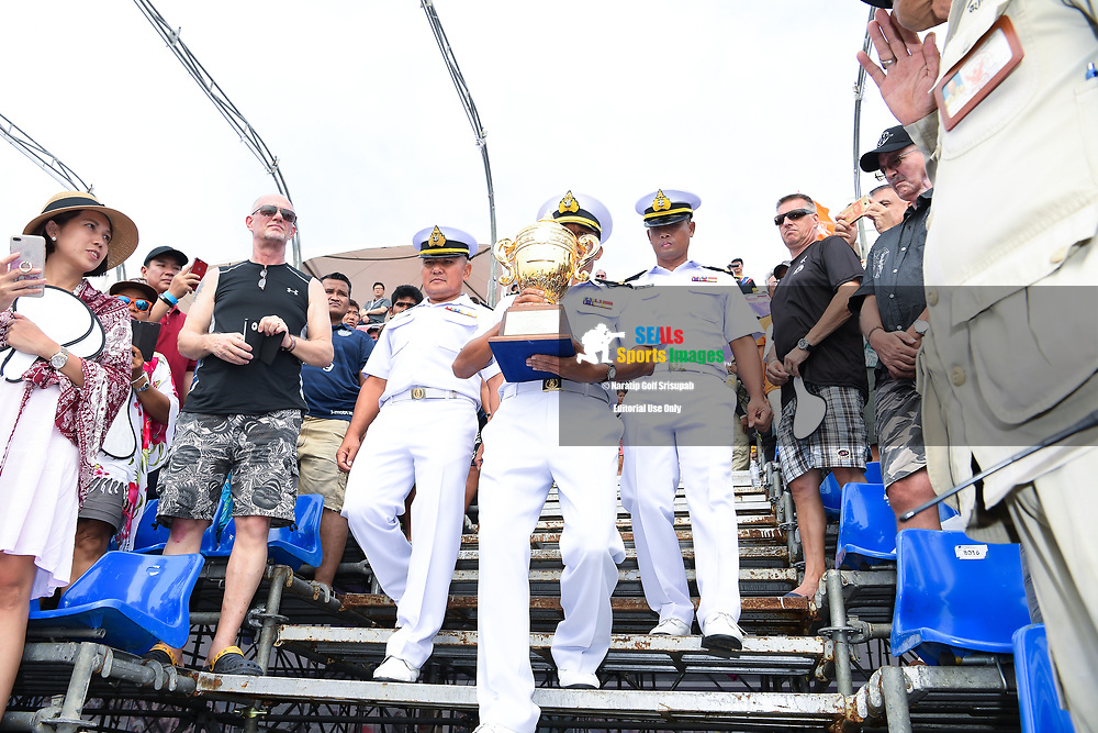 PATTAYA, THAILAND - DECEMBER 09: Royal Thai Navy with the King's Cup during the Royal Trophy presentation for the Pro Sport GP at the Thai Airways International Jet Ski World Cup 2018, Jomtien Beach, Pattaya, Thailand on December 09, 2018. <br /> .<br /> .<br /> .<br /> (Photo by: Naratip Golf Srisupab/SEALs Sports Images)<br /> .<br /> Any image use must include a mandatory credit line adjacent to the content which should read: Naratip Golf Srisupab/SEALs Sports Images