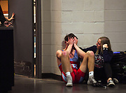 Bon Homme/Scotland/Avon's Josh Crownover is comforted in the hall after losing his match in the state wrestling semifinals on Friday, Feb. 28, 2020, at the Denny Sanford Premier Center in Sioux Falls.