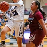 Photo: Jeffery Jones<br /> <br /> Miyamura Lady Patriot Haila Dennison (10) jumps for a basket against Shiprock Lady Chieftain Lisa Begay (30) Thursday night at Miyamura High School in Gallup. The Lady Chieftains won 49-36.