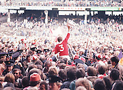 The Cork captain Martin O'Doherty being carried off the pitch by crowds of supporters after their win at the All Ireland Senior Hurling Final, Cork v Wexford in Croke Park on the 4th September 1977. Cork 1-17 Wexford 3-8.