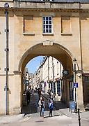 Historic arch of Trim Bridge and Trim Street, Bath, Somerset, England