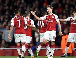 Nacho Monreal of Arsenal celebrates Alexis Sanchez's goal - Mandatory by-line: Patrick Khachfe/JMP - 14/09/2017 - FOOTBALL - Emirates Stadium - London, England - Arsenal v Cologne - UEFA Europa League Group stage