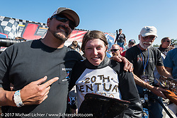 Custom bike builder and board track racer Warren Lane with first place finisher Brittney Olsen after Billy Lane's Son's of Speed race during Daytona Bike Week. New Smyrna Beach, FL. USA. Saturday March 18, 2017. Photography ©2017 Michael Lichter.