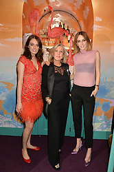 Left to right, LADY VIOLET MANNERS, JANE WINKWORTH and LADY ALICE MANNERS at a party to celebrate Alice Naylor-Leyland's Collaboration with French Sole held at Annabel's, 44 Berkeley Square, London on February 2nd 2016