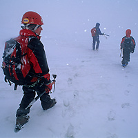 A young mountaineer and his adult companions descend the Vowell Glacier after climbing a mountain in Bugaboo Provincial Park, British Columbia, Canada.