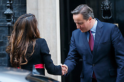© Licensed to London News Pictures. 08/01/2016. London, UK. Prime Minister David Cameron greets Queen Rania of Jordan in Downing Street on Friday, 8 January 2015. Photo credit: Tolga Akmen/LNP