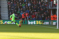 Football - 2016 / 2017 Premier League - AFC Bournemouth vs. Liverpool<br /> <br /> Sadio Mane of Liverpool roles the ball into a empty after rounding Bournemouth goal keeper Artur Boruc to open the scoring at Dean Court (The Vitality Stadium) Bournemouth<br /> <br /> COLORSPORT/SHAUN BOGGUST