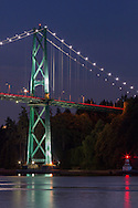 The Lions Gate Bridge and the Prospect Point Lighthouse at Stanley Park in Vancouver, British Columbia, Canada