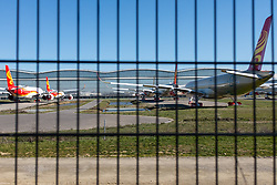 Tarmac of the Airbus production area. Airbus, the European aerospace group, announced the end of production of the A380, February 14, 2019, in Toulouse (France). Twelve years after its commissioning, and failing to find a satisfactory sales market, the decision was made following the withdrawal of some companies and the reduction of recent Emirates orders. The last planes will have to leave the chains of production in 2021. Photo by Patrick BATARD / ABACAPRESS.com