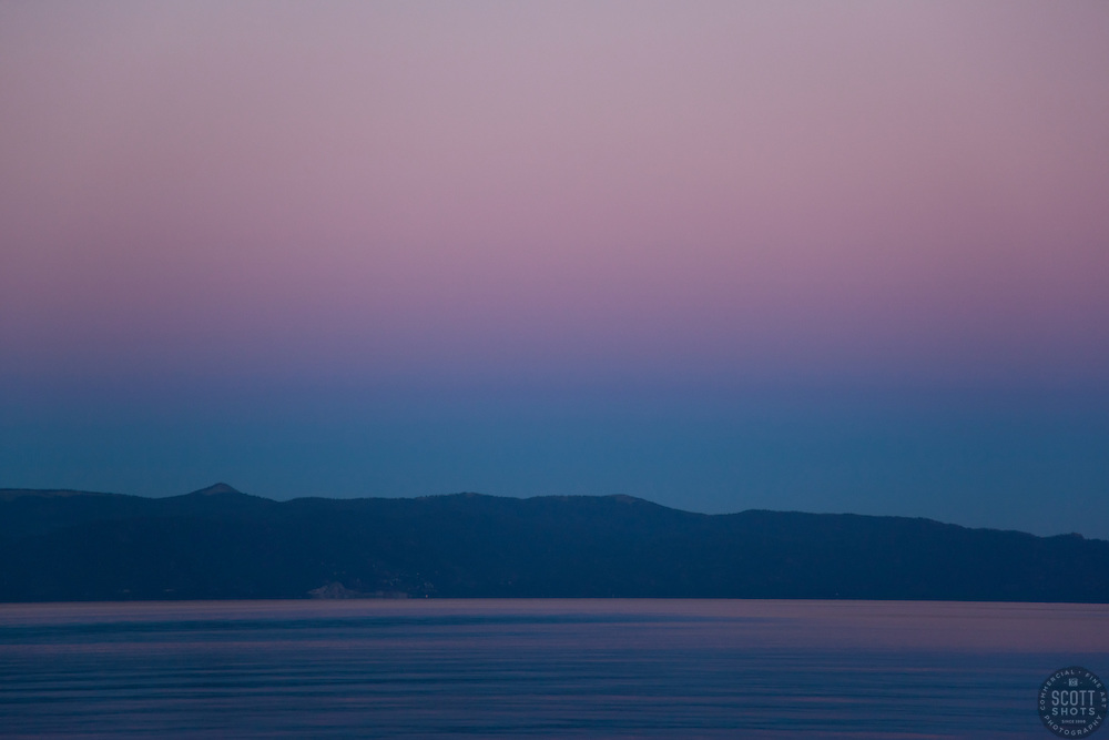 """""""Sunset at Lake Tahoe 10"""" - This peaceful sunset was photographed from the West shore of Lake Tahoe, California."""