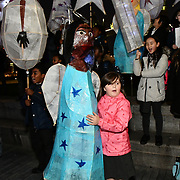 Honourable Councillor Catherine Rose is a Mayor of Southwark join Christmas by the River Launch children from Snowsfields and Tower Bridge Primary Schools of spectacle illuminate procession at London Bridge City and singing jingle bell at Potters Fields Park to Hay Gallery to London Bridge Station on 29 November 2018, London, UK.