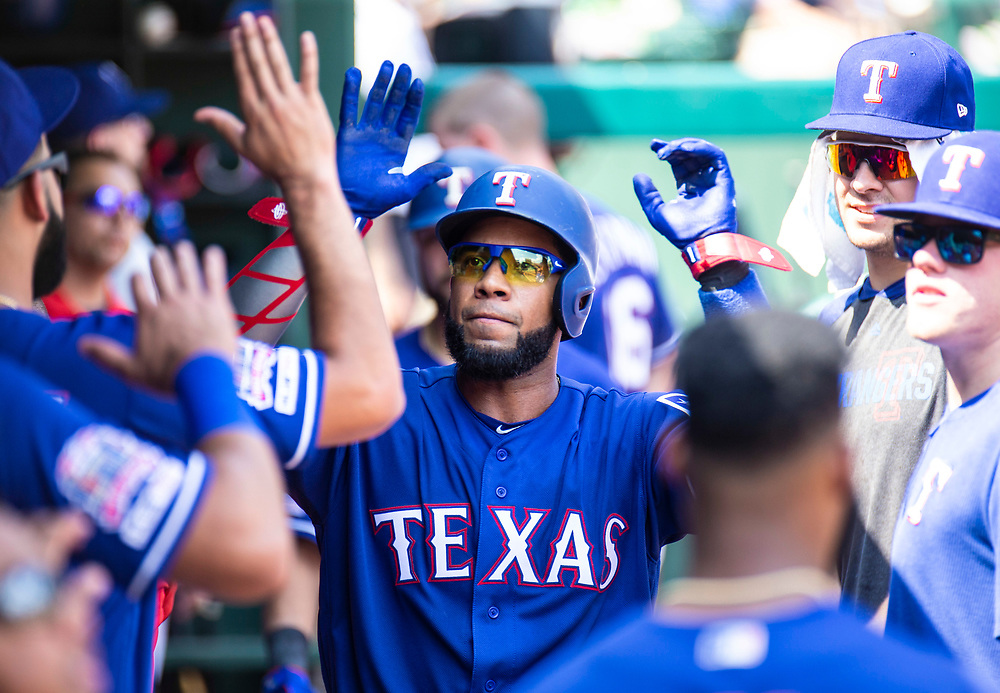 Aug 01 2019, Arlington, TX  U.S.A. Texas shortstop Elvis Andrus (1) in the dugout during the MLB game between the Seattle Mariners and the Texas Rangers 11-3 lost at Globe Life Park in Arlington,TX. Thurman James / CSM