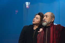 © Licensed to London News Pictures. 21/05/2015. London, UK.  Tatsuya Fujiwara as Hamlet and Ikkyu Juku as Cornelius/Priest. The Ninagawa Company returns to the Barbican and perform Hamlet by Shakespeare under the direction of Yukio Ninagawa. With Tatsuya Fujiwara as Hamlet. Performances in Japanese with English surtitles from 21 to 24 May 2015. Photo credit : Bettina Strenske/LNP