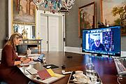 """DEN HAAG, 21-01-2021, Paleis Huis ten Bosh <br /> <br /> Koningin Maxima tijdens een webinar 'Samen Sterk voor een schuldenzorgvrij ondernemend Nederland'. Vanuit het ADO stadion in Den Haag wordt gesproken over het recente onderzoek van Deloitte naar de impact van de coronacrisis op het mkb en toenemende schuldenproblematiek. Met name zelfstandigen zonder personeel (ZZP) zijn kwetsbaar. Het onderzoek is gedaan in opdracht van SchuldenlabNL, het Verbond van Verzekeraars (VvV)en de Nederlandse Vereniging van Banken (NVB).<br /> <br /> Queen Maxima during a webinar """"Together Strong for a debt-relief-free entrepreneurial Netherlands"""". The ADO stadium in The Hague is talking about the recent research by Deloitte into the impact of the corona crisis on SMEs and increasing debt problems. Self-employed persons without employees (ZZP) are particularly vulnerable. The research was commissioned by SchuldenlabNL, the Dutch Association of Insurers (VvV) and the Dutch Banking Association (NVB)."""