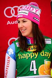 January 7, 2018 - Kranjska Gora, Gorenjska, Slovenia - Wendy Holdener of Switzerland on podium celebrating her third place at the the Slalom race at the 54th Golden Fox FIS World Cup in Kranjska Gora, Slovenia on January 7, 2018. (Credit Image: © Rok Rakun/Pacific Press via ZUMA Wire)