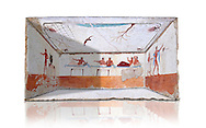 """Reconstruction of  the inside of the Greek Tomb of  the Diver  [La Tomba del Truffatore]. The rear panel is from one of the long sides of the tomb and shows a symposium of men lying on couches facing low tables.  The men on the couches are playing the song of Eros the liar and the flute to distract the deceased from worldly thoughts so he can enter the next world. The fresco on the lid of the tomb and shows a  diving from a column into water. The column represents the border of thye known world and therefore the limit of man's knowledge.  The dive represents the passage form this world to the next. The tomb is painted with the true fresco technique and its importance lies in being """"the only example of Greek painting with figured scenes dating from the Orientalizing, Archaic, or Classical periods to survive in its entirety. Paestrum, Andriuolo.  (480-470 BC  ) .<br /> <br /> If you prefer to buy from our ALAMY PHOTO LIBRARY  Collection visit : https://www.alamy.com/portfolio/paul-williams-funkystock - Scroll down and type - Paestum Fresco - into LOWER search box. {TIP - Refine search by adding a background colour as well}.<br /> <br /> Visit our ANCIENT GREEKS PHOTO COLLECTIONS for more photos to download or buy as wall art prints https://funkystock.photoshelter.com/gallery-collection/Ancient-Greeks-Art-Artefacts-Antiquities-Historic-Sites/C00004CnMmq_Xllw"""