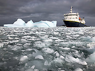 The National Geographic Explorer parked in the ice near Palmer Station, Antarctica, as photographed with an iPhone