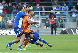 Clayton Blommetjies of the Cheetahs is caught in the tackle during the Super Rugby match between the DHL Stormers and the Toyota Cheetahs held at DHL Newlands rugby stadium in Newlands, Cape Town, South Africa on the 28th May 2016<br /> <br /> Photo by: Ron Gaunt / SPORTZPICS