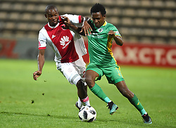 Cape Town-180424 Ajax Cape Town midfielder  Tercious Malepe challenged  by Baroka winger Talent Chawapiwa In a PSL game at   at Athlone stadium.photographer:Phando Jikelo/African News Agency/ANA
