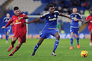 Cardiff City's Sammy Ameobi (r) takes on Blackburn Rover's Ben Marshall. Skybet football league championship match, Cardiff city v Blackburn Rovers at the Cardiff city stadium in Cardiff, South Wales on Saturday 2nd Jan 2016.<br /> pic by Carl Robertson, Andrew Orchard sports photography.
