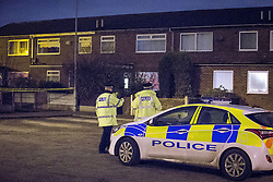 © Licensed to London News Pictures . 28/11/2013 . Manchester , UK . Scene at streets adjoining 17 Mellor Street in Eccles , Greater Manchester this evening (Thursday 28th November 2013) where police have cordoned off adjoining streets and evacuated houses following the discovery of a suspicious device .  Photo credit : Joel Goodman/LNP