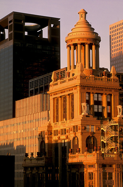 Stock photo of architectural details of office buildings in downtown Houston.