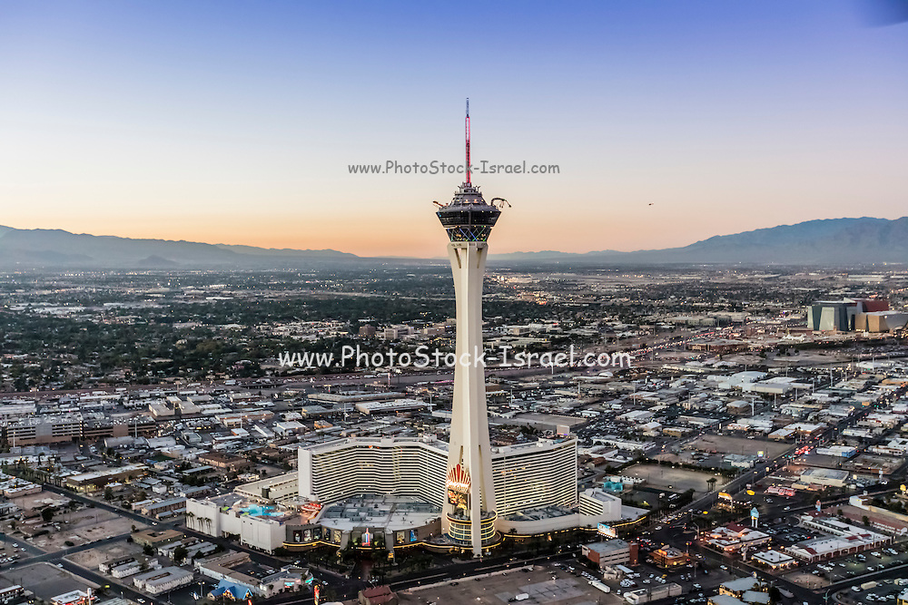 Aerial view of Stratosphere Casino Hotel and tower, Las Vegas, Nevada, USA