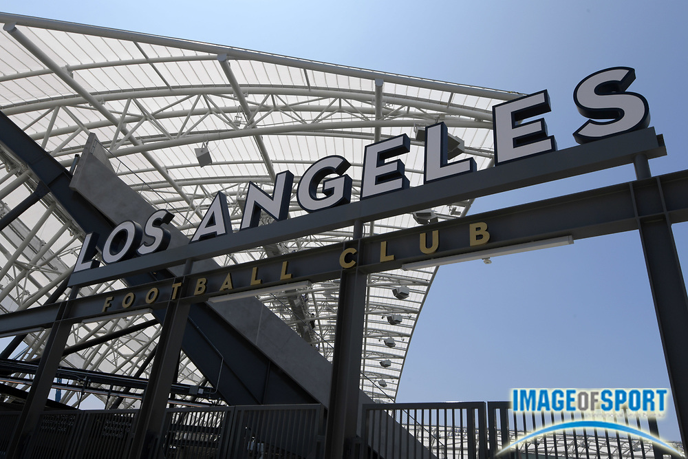 Apr 25, 2018; Los Angeles, CA, USA; General overall view of Los Angeles Football Club sign at Banc of California Stadium. The venue is the home of the Los Angeles FC of the MLS and is the first open-air stadium built in the City of Los Angeles since 1962. It is constructed on the site of the former Los Angeles Memorial Sports Arena at Exposition Park next to the Los Angeles Memorial Coliseum.