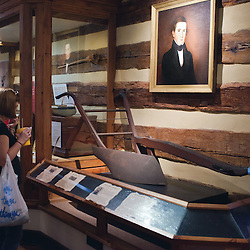 October 5, 2013- Luray, Virginia- The Stoneyman Museum features an impressive collection of Shenandoah Valley artifiacts in chronological order dating from the 1750s to the 1920s.  This building was constructed with the original logs from an early 1800s local bank barn.