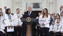 April 27, 2018 - Washington, DC, United States of America - United States President Donald J. Trump hosts a celebration for Olympic Athletes from Team USA at The White House in Washington, DC, April 27, 2018. Credit: Chris Kleponis / Polaris (Credit Image: © Chris Kleponis/CNP via ZUMA Wire)