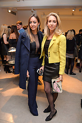 Left to right, FIORINA BENVENISTE SCHULER and SABINE GETTY at a private view of Bright Young Things held at the David Gill Gallery, 2-4 King Street, London on 19th April 2016.