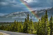 Rainbow over Denali National Park, Alaska, USA.