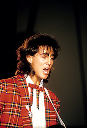 Andrew Ridgeley, one half of British pop duo Wham!, sings during their performance live on stage.