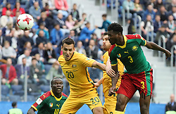 2017?6?23?.   ????????——?????????????????.    6?22????????????????????????????????????.    ??????????????2017????????B???????????1?1?????????.    ?????????..(SP)RUSSIA-ST. PETERSBURG-2017 FIFA CONFEDERATIONS CUP-CMR VS AUS..(170623) -- ST. PETERSBURG, June 23, 2017  Trent Sainsbury (2nd L) of Australia competes for a header with Andre Zambogroup of Cameroon during the group B match between Cameroon and Australia of the 2017 FIFA Confederations Cup in St. Petersburg, Russia, on June 22, 2017. The match ended with a 1-1 tie.  7 9854294892 (Credit Image: © Xu Zijian/Xinhua via ZUMA Wire)