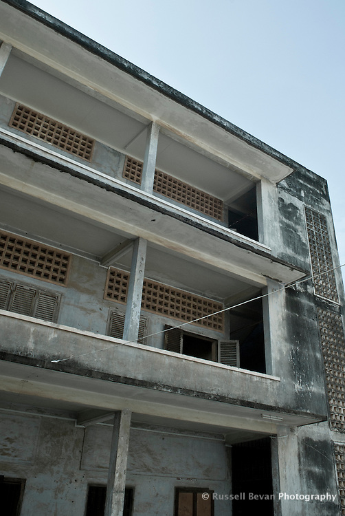Exterior of Building A in Tuol Sleng Genocide Museum in Phnom Penh, Cambodia