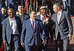 October 1, 2018 - Kiev, Ukraine - Former Boxing Champion EVANDER HOLYFIELD, Ukrainian boxer VLADIMIR KLITSCHKO,President of the World Boxing Council (WBC) MAURICIO SULAIMAN,former Boxing Champion LENNOX LEWIS and former heavyweight boxing champion and current Mayor of Kiev VITALI KLITSCHKO (from L to R) arrive to the opening of the 56th World Boxing Convention in Kiev, Ukraine, on 1 October 2018.The WBC 56th congress in which take part boxing legends Evander Holyfield,Lennox Lewis, Eric Morales and about 700 participants from 160 countries runs in Kiev from from September 30 to October 5. (Credit Image: © Serg Glovny/ZUMA Wire)