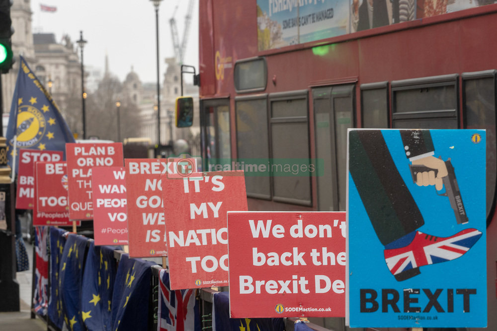Placards outside the UK Houses of Parliament in London ahead of the second so-called significant vote in House of Commons on Theresa May's revised EU Withdrawal (Brexit) Agreement. Photo date: Tuesday, March 12, 2019. Photo credit should read: Richard Gray/EMPICS