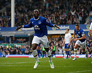 Romelu Lukaku of Everton celebrate scoring his second and Everton's fourth during the English Premier League match at Goodison Park Stadium, Liverpool. Picture date: April 9th 2017. Pic credit should read: Simon Bellis/Sportimage