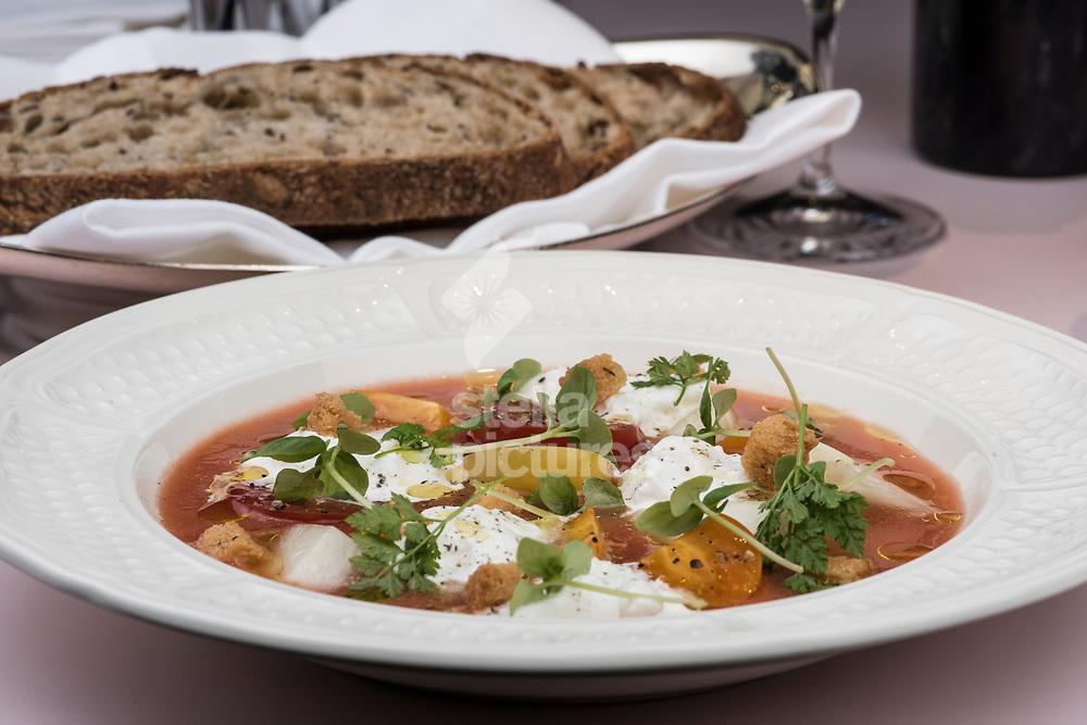 Gazpacho at Serge et Le Phoque as part of restaurant review.<br /> Picture by Daniel Hambury/Stella Pictures Ltd 07813022858<br /> 02/10/2017
