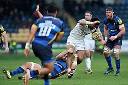 Amanaki Mafi of Bath Rugby is tackled - Mandatory byline: Patrick Khachfe/JMP - 07966 386802 - 13/02/2016 - RUGBY UNION - Sixways Stadium - Worcester, England - Worcester Warriors v Bath Rugby - Aviva Premiership.